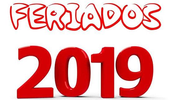 feriados em 2019
