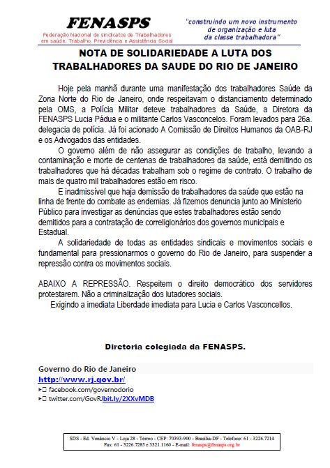 NOTA DE SOLIDARIEDADE A LUTA DOS TRABALHADORES DA SAÚDE DO RIO DE JANEIRO