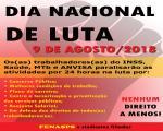 9 de agosto é Dia Nacional de Luta com paralisação de atividades!