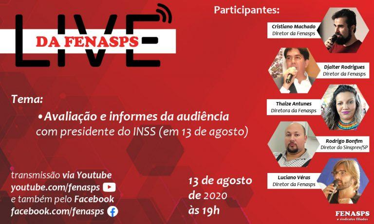 Live: Fenasps faz avaliação da audiência com o presidente do INSS em 13 de agosto